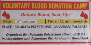 Voluntary Blood Donation Camp at the Institute premises on 22nd April,2019